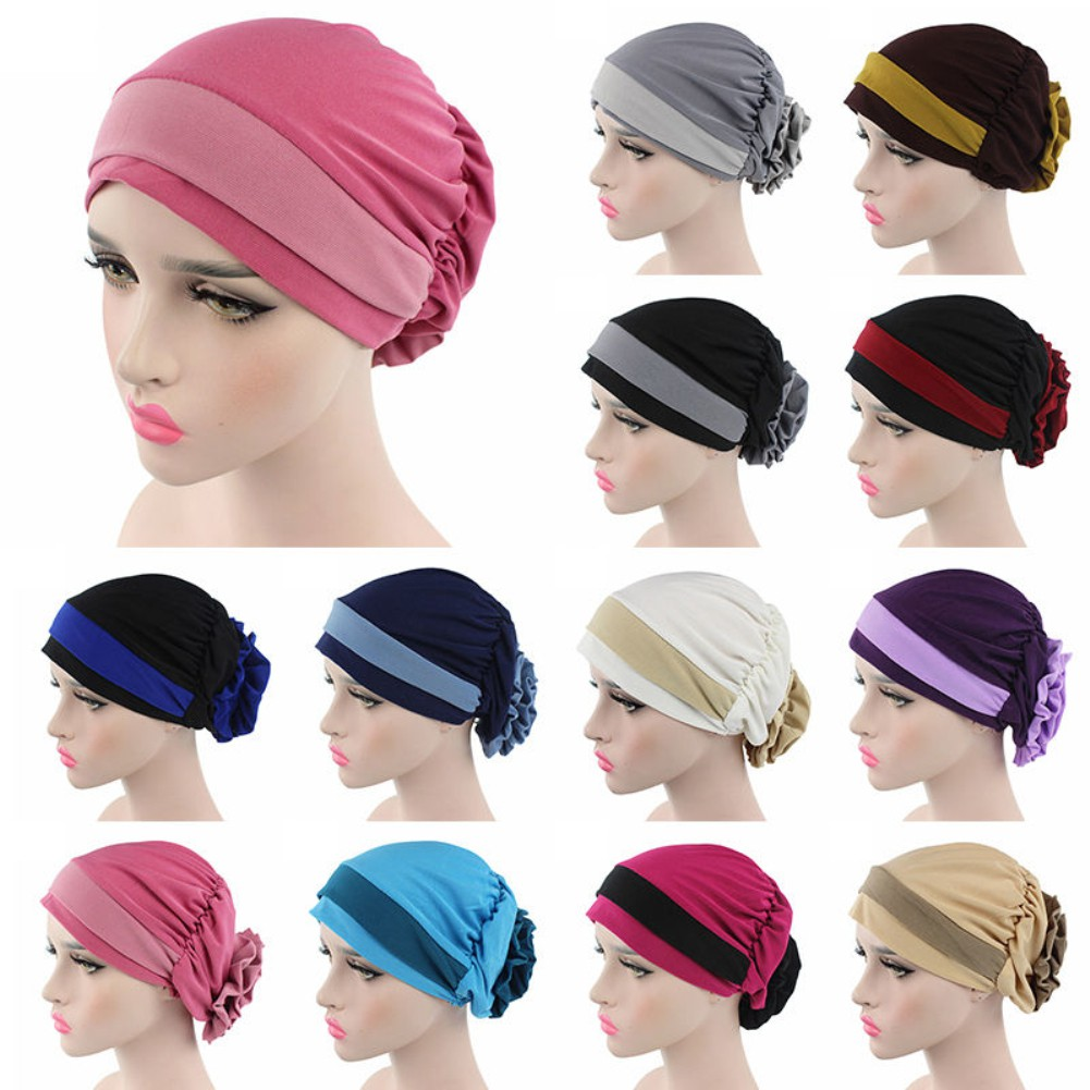06fd3e5c1 1 Pc Muslim Stretch Turban Hat Cancer Chemo Cap Hair Loss Headwrap Head  Scarf