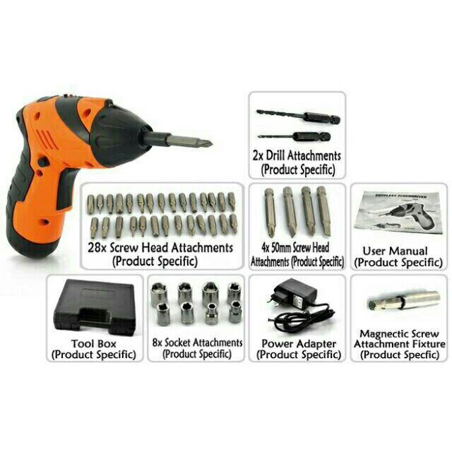 COD Cordless Rechargeable Handy Drill Screwdriver 45pcs