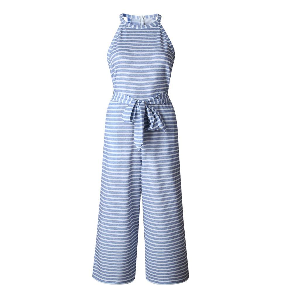 dd14ef6381cd45 Women Striped Bowknot Jumpsuit Wide Leg Sleeveless Rompers Summer Bodysuit