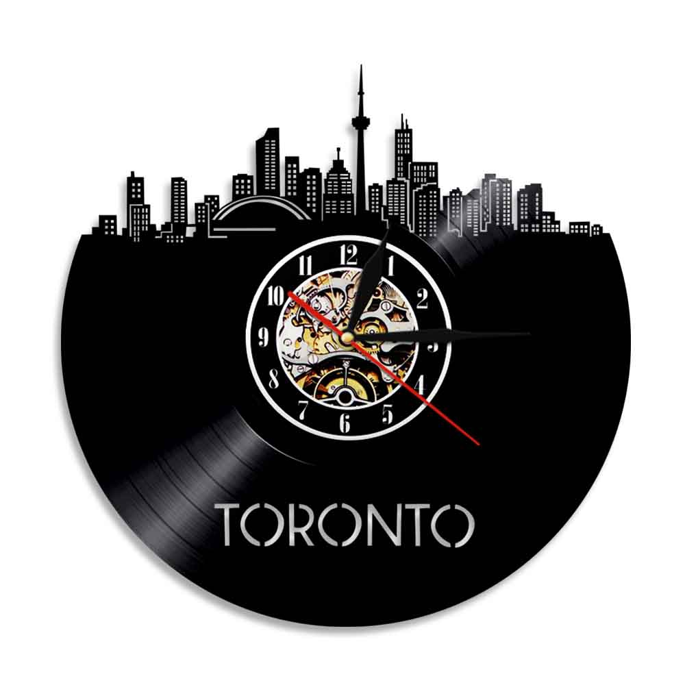 Toronto Skyline Wall Art Home Decor Wall Clock Canada Cityscape Vinyl Record Clock Canadian Gift Canada Travel Decorative Clock