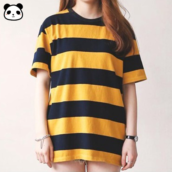 Hot In Stock Women Summer Yellow Black Stripes Short Sleeve Tops Cotton Girl T Shirt Korean Style Shopee Philippines