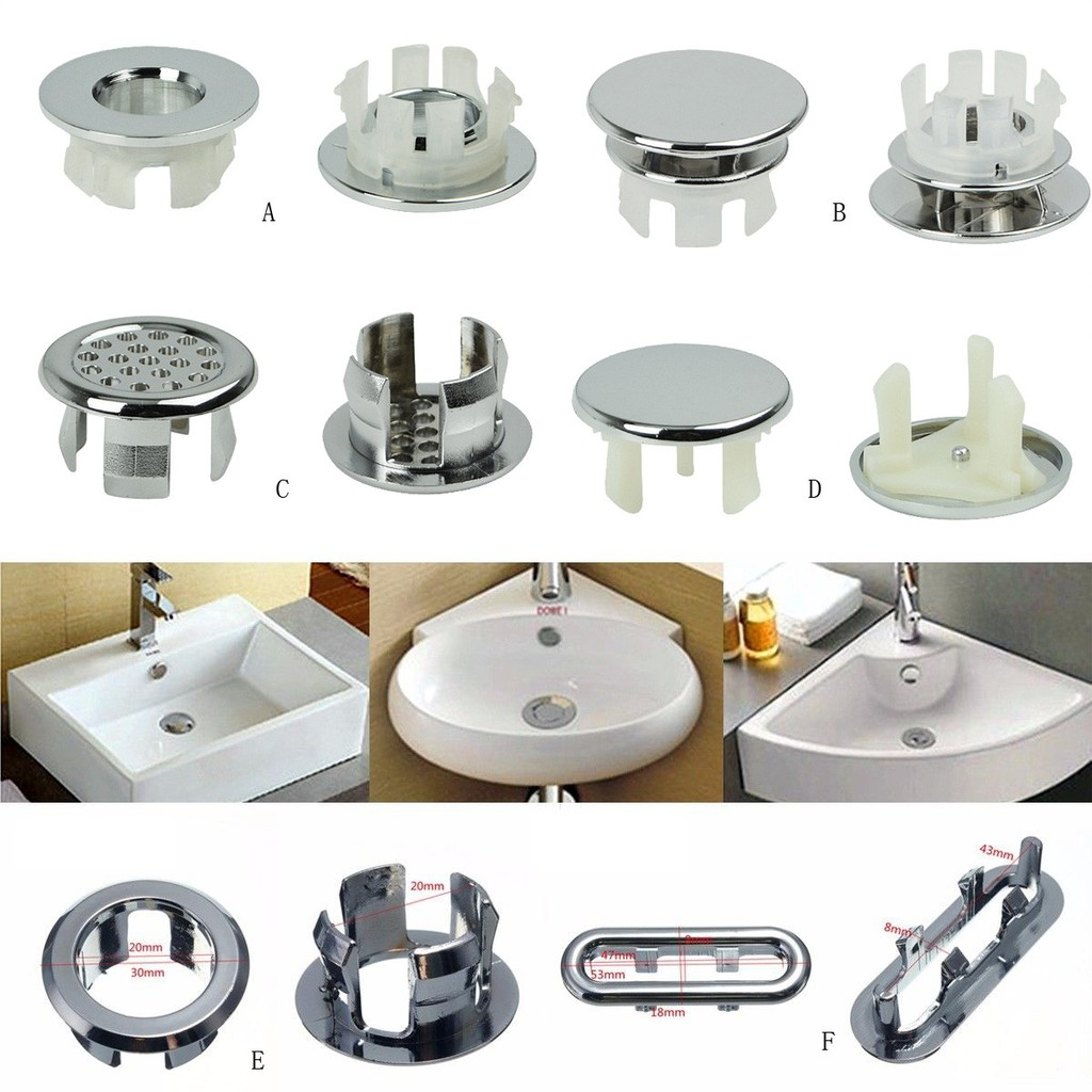 6 Assoeted Artistic Sink Overflow Spare Cover Chrome Trim Bathroom Ceramic Basin