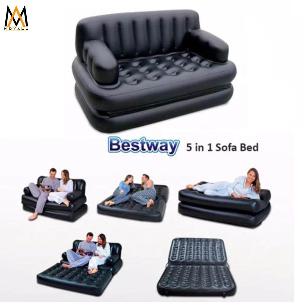 Bestway 5 In 1 Inflatable Sofa Air Bed Free Air Pump Shopee