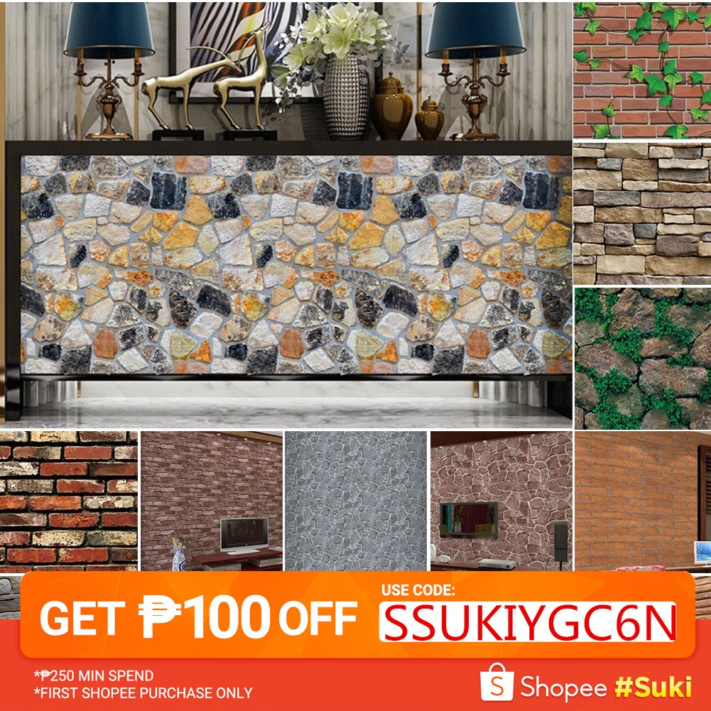 - Home Decor 3D Wall Stickers Brick Wallpaper Tile For Kitchen