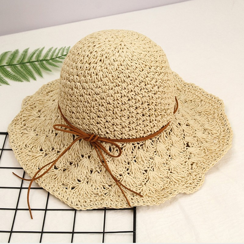 03e53170 Ladies Foldable Summer Sun Straw Beach Hat with Bow Cap | Shopee ...