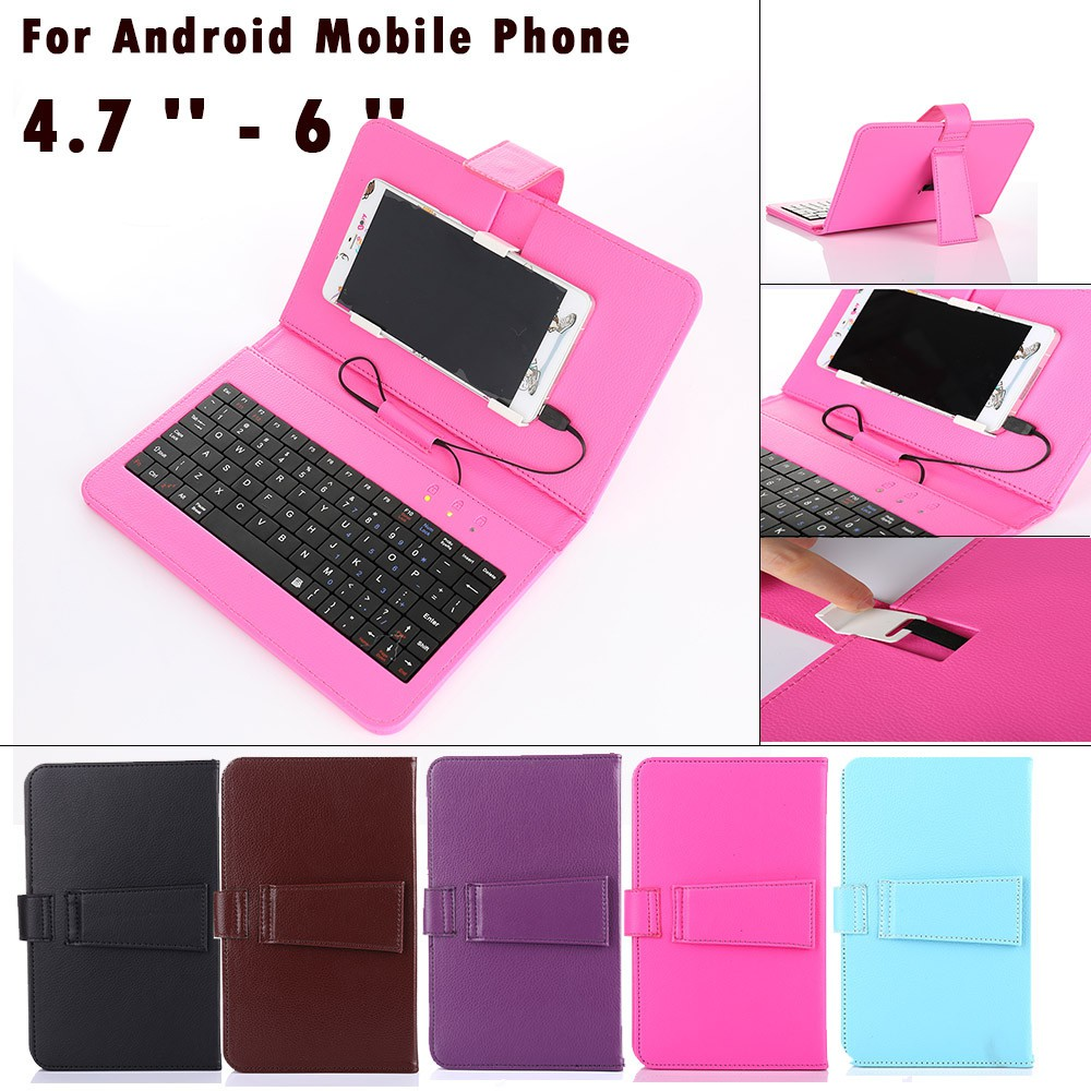 brand new 32360 df5ae General Wired Keyboard Flip Holster Case For Android Mobile Phone 4.7 '' -  6 ''