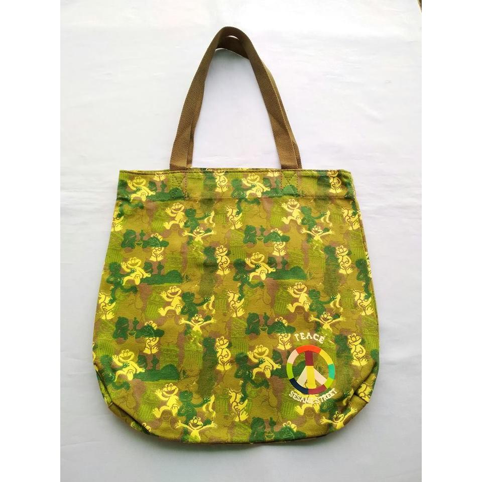 4becd68e2e00 Sesame Street Elmo Camou Green Peace Shopping CanvasTote Bag