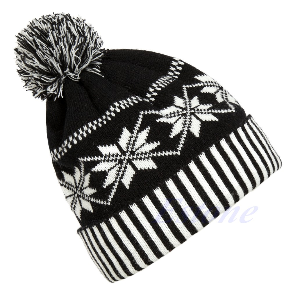 b7274ca15 Fashion Women Men Winter Warm Knitted Beanie Crochet Ski Hat Snowflake Cap