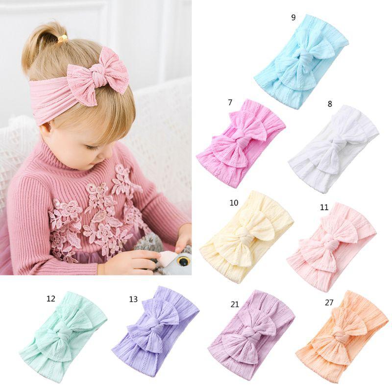 UK New Boho Children/'s Hairband Baby Nylon Stockings Bow 21 Color