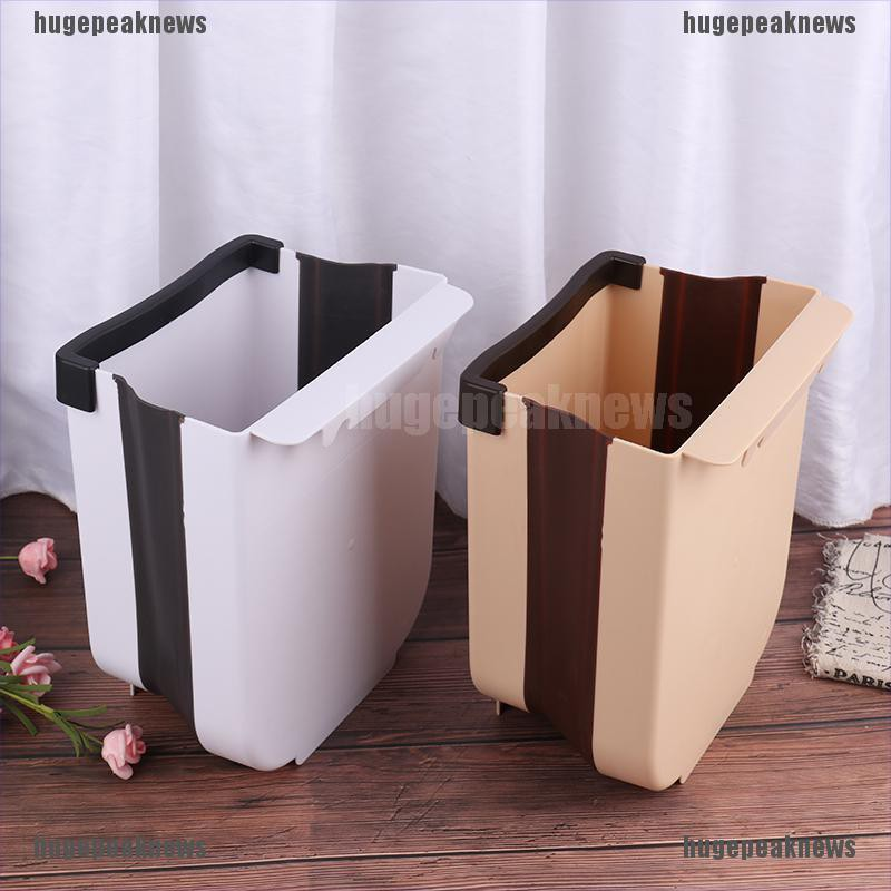 Hugepeaknews 5l Wall Mounted Folding, Hanging Trash Can For Kitchen Cabinet Door