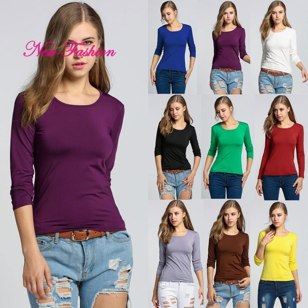Girls Tops T Shirt Slim-Fit Basic Pullover