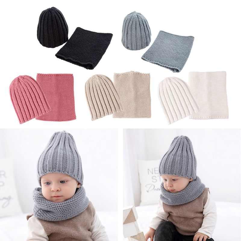 2PCS Baby Kid Knit Hat Scarf Winter Warm Beanie Cap Circle Loop Scarf Neckwarmer