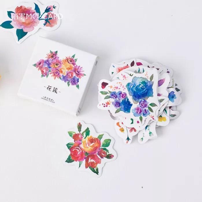 DIY Laptop Photo Paper Sticker Diary Label Scrapbook Decor Flower Stickers