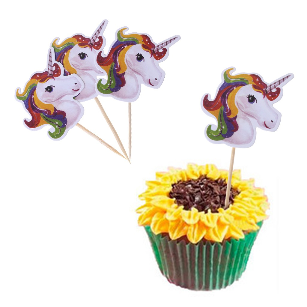 Cake Toppers Home Garden 24x Unicorn Cupcake Toppers And Wrappers Double Sided Birthday Cake Decor Adrp Fournitures Fr