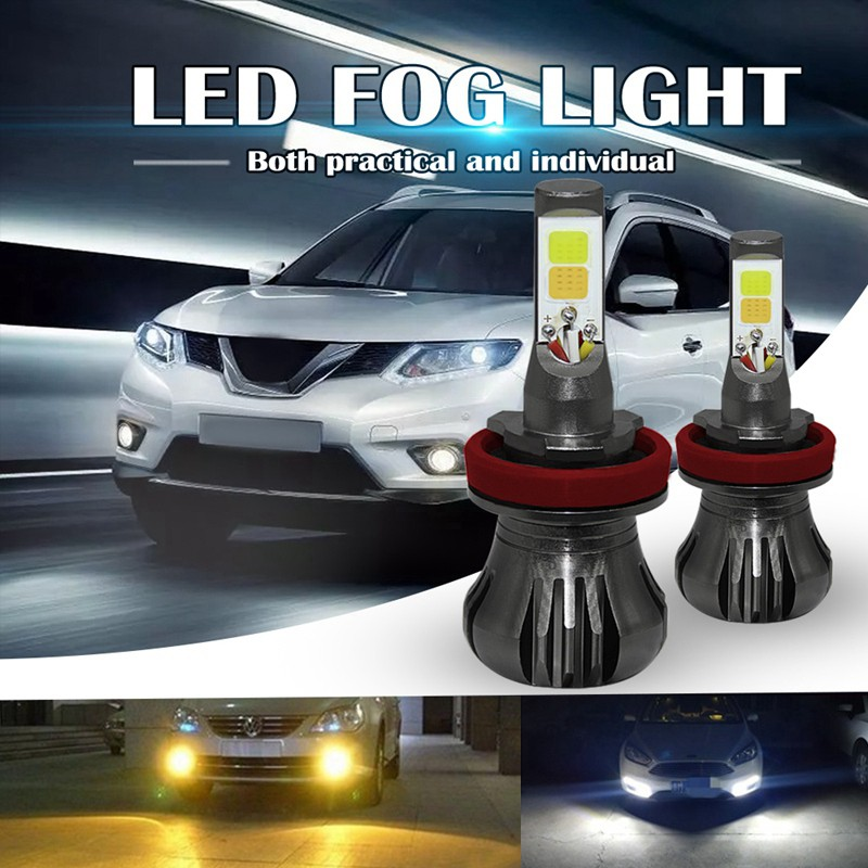 880 LED Fog Light Bulbs 881 LED Bulb Dual Color Lamp with COB Chips Super Bright Car DRL or Fog Lights Replacement 3000K Yellow Amber 6000K Xenon White