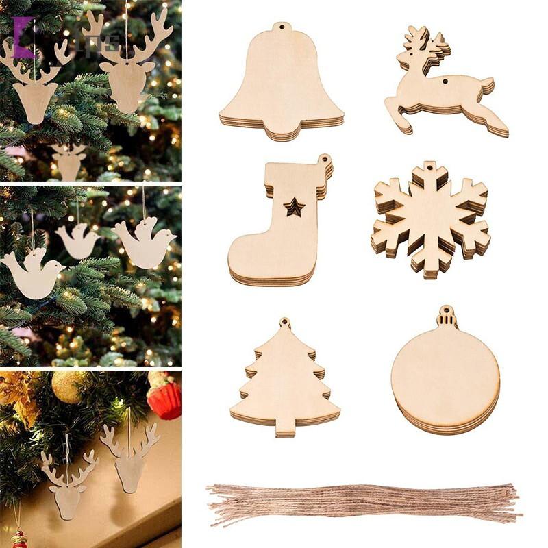 10pcs Blank Wood Snowman Gift Tags DIY Craft Christmas Tree Decor Ornaments