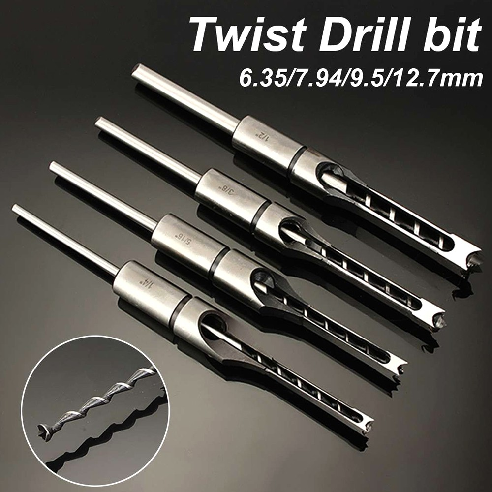 6-30mm Mortise Square Hole Saw Auger Drill Bit Mortising Chisel Woodworking LOT