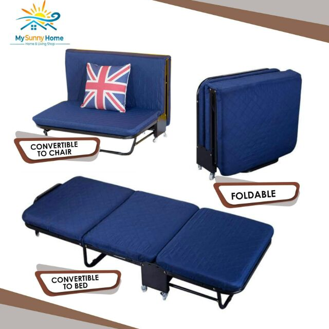 Folding Bed With Foam Convertible To
