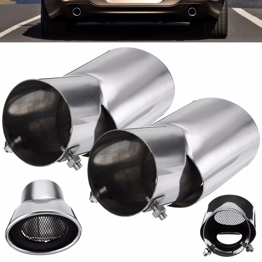 2Pcs Stainless Steel Silver Exhaust Muffler Tail Pipe Tip Tailpipe for Honda CRV