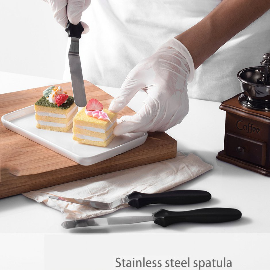 3PCS Tool Pastry Smooth Kitchen Stainless Steel Black Cake Spatula Bake Cutter