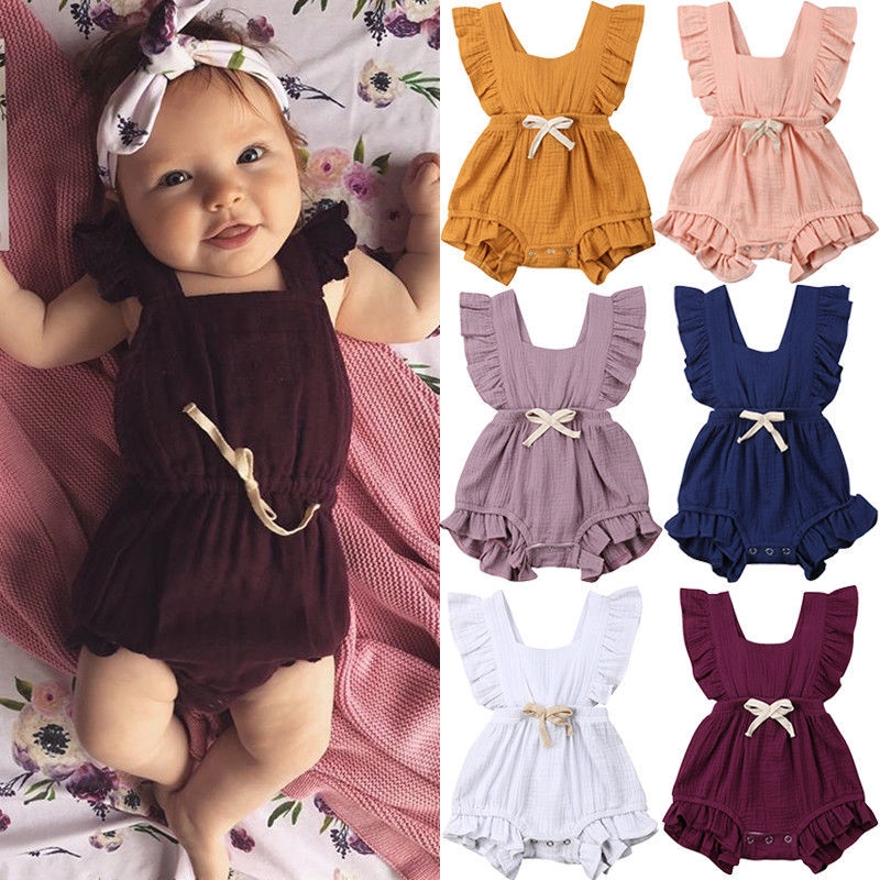 Newborn Summer Jumpsuit Newborn Baby Romper Baby Boy Clothes Baby Girl  Clothing Sleeveless Summer Onesie Bow Lovely Rompers | Shopee Philippines