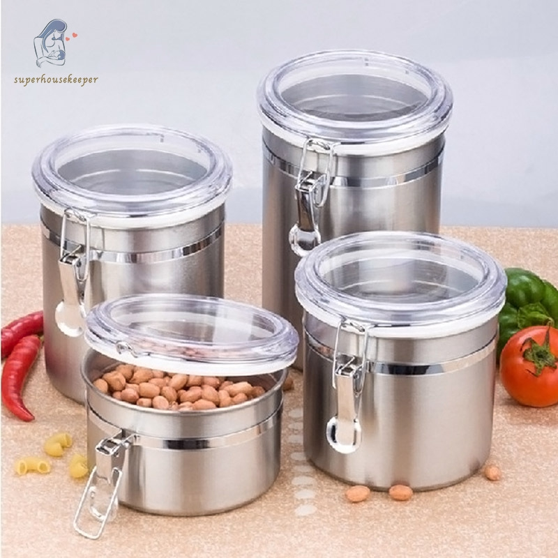 Sk Stainless Steel Tea Coffee Sugar Kitchen Storage Canisters Jars Pots Container