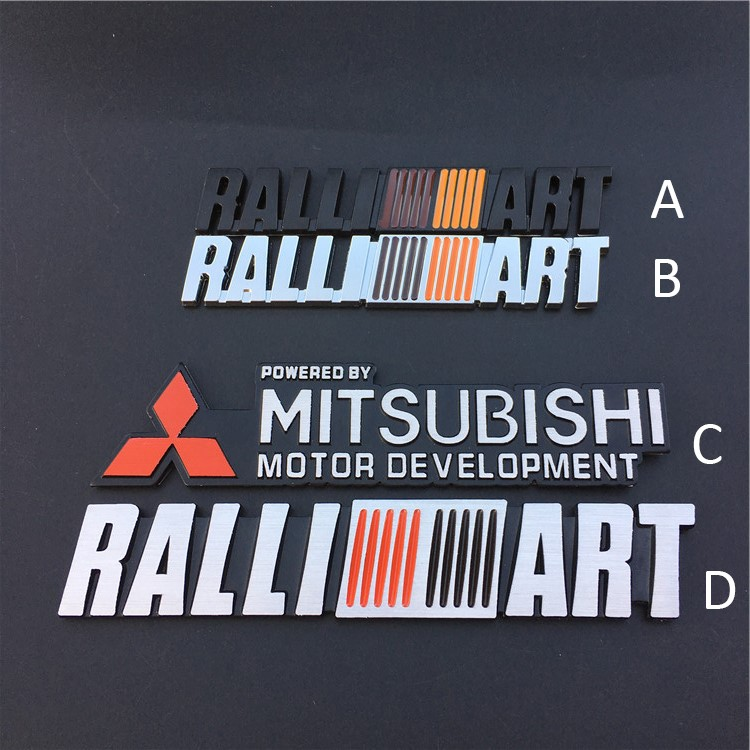 1 Ralliart Car 3D Side Fender Rear Emblem Sticker Mitsubishi