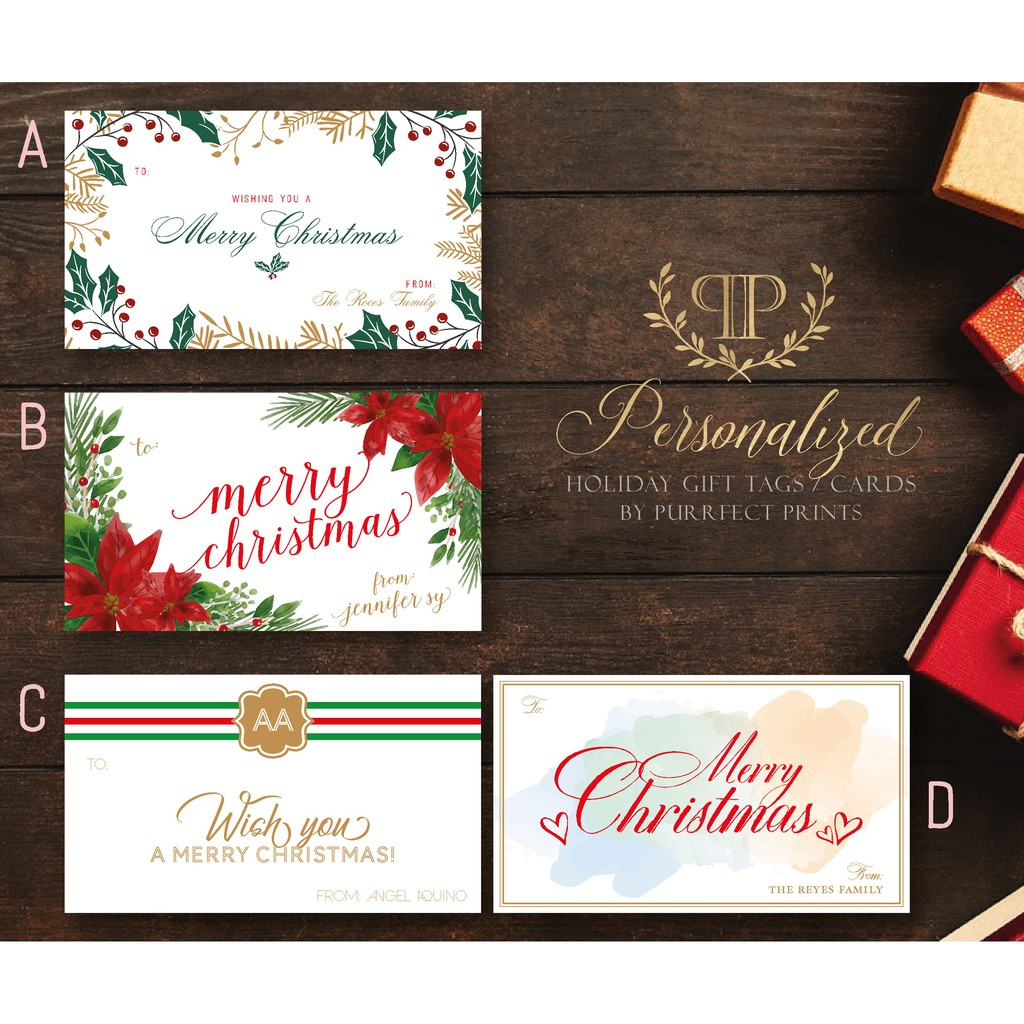 Personalized Christmas Gifts.Personalized Christmas Holiday Gift Cards Tags