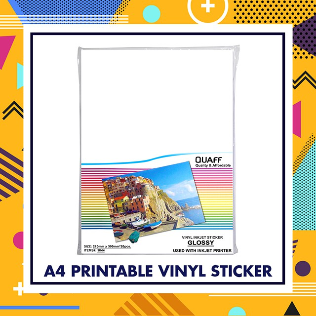 picture about Inkjet Printable Vinyl identified as QUAFF PRINTABLE VINYL INKJET STICKER A4