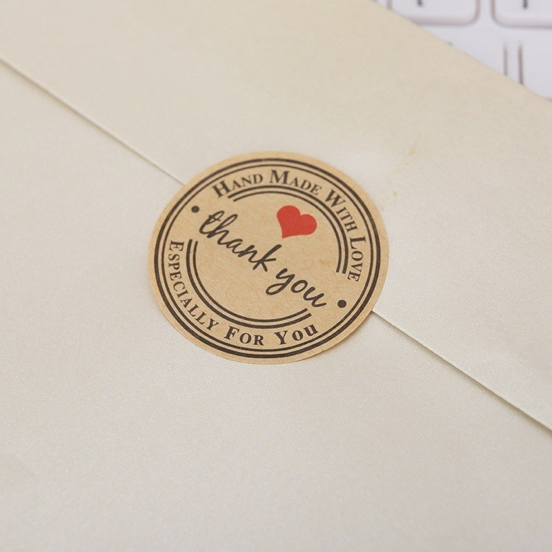 Hand made with love/' Gift Food Craft Stickers Round Paper Labels /'Thank you