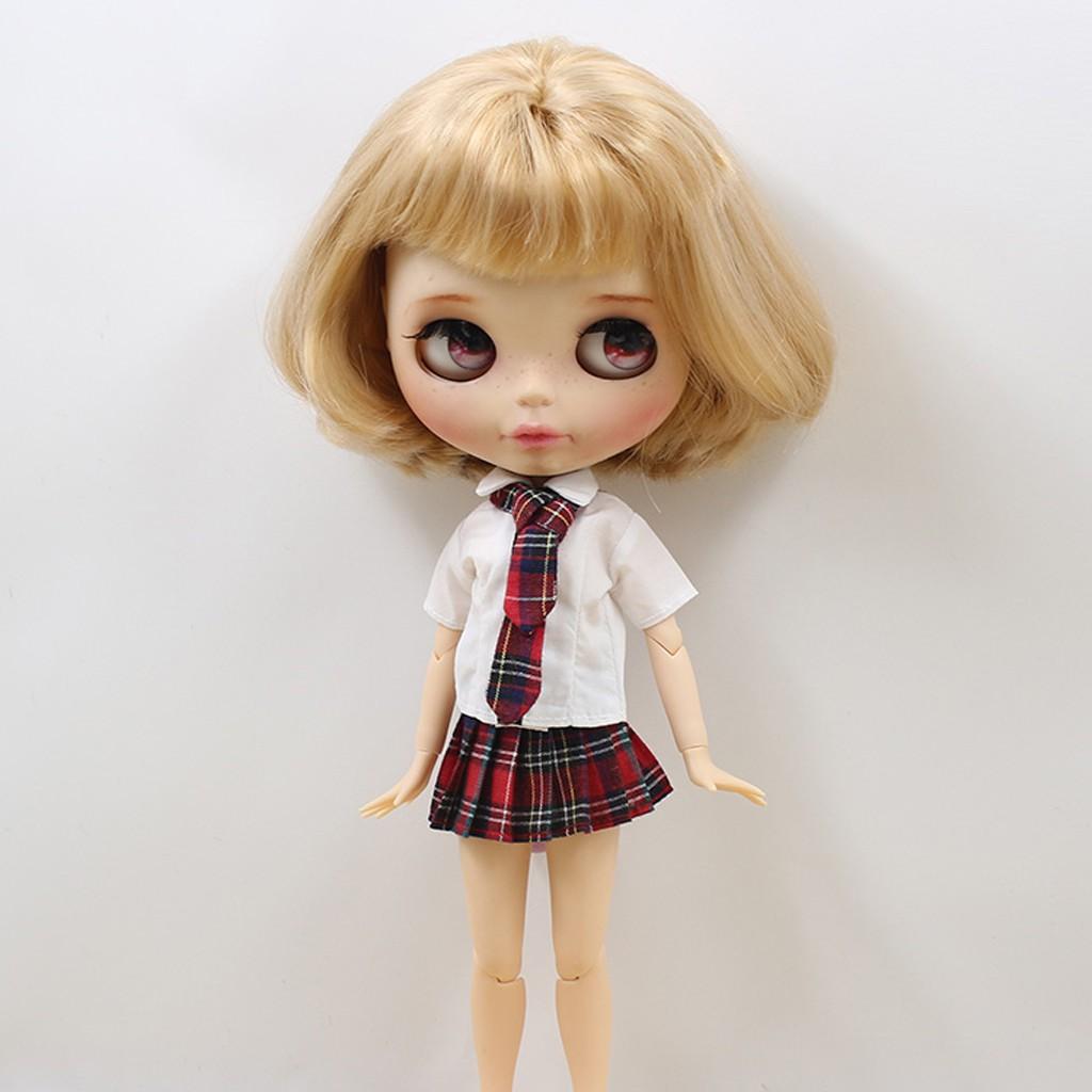 Lovely Doll Mini Pleated School Uniform Dress for 1//6 Blythe Girl Dolls