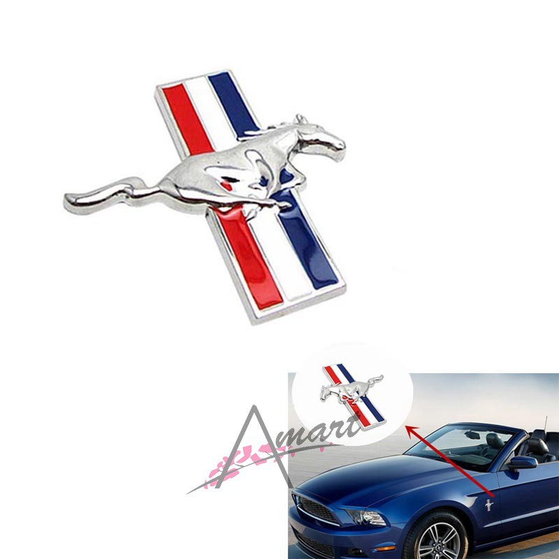 Pair Metal Car Emblem Black Mustang Logo Badge Side Door Fender Sticker Decal