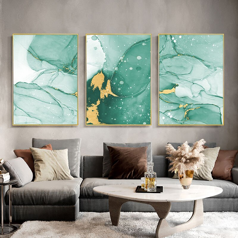 Golden Green Texture Abstract Painting Contemporary Art Poster Simplicity Canvas Print Modern Wall Picture For Living Room Decor Shopee Philippines