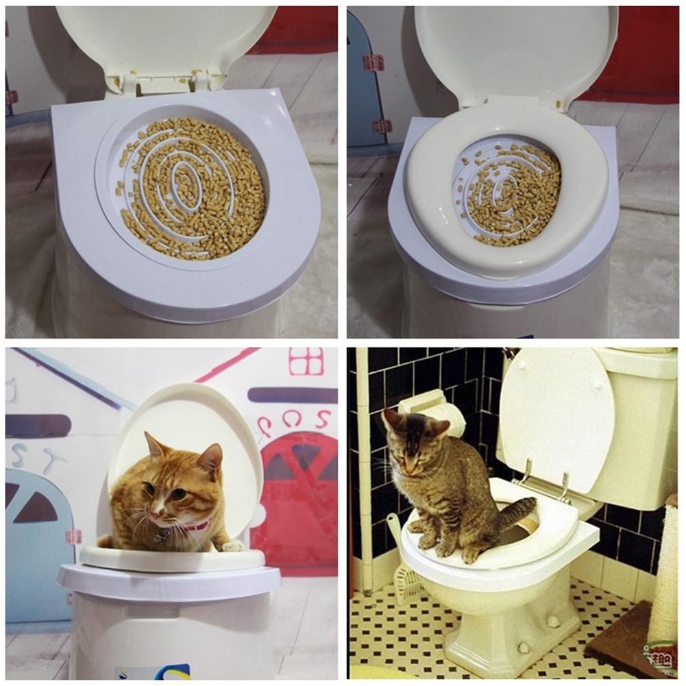 Portable Cat Toilet Training System Potty Tray Kit Kitten Seat