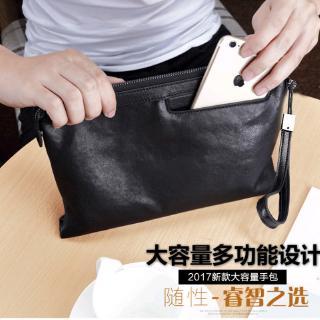 official photos unequal in performance comfortable feel Men's handbag tide big-capacity envelope clutch bag soft leather casual men  clutch bag wallet