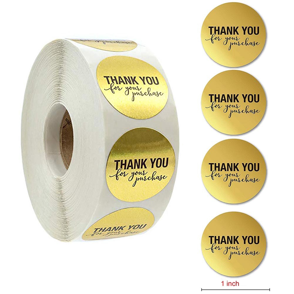 Dongpong Thank You For Supporting My Small Business Stickers 2 Inch Round Thank You Stickers Roll 500 Adhesive Golden Font Label Business Stickers For Business Online Retailers Boutiques Shops Office Products Labels