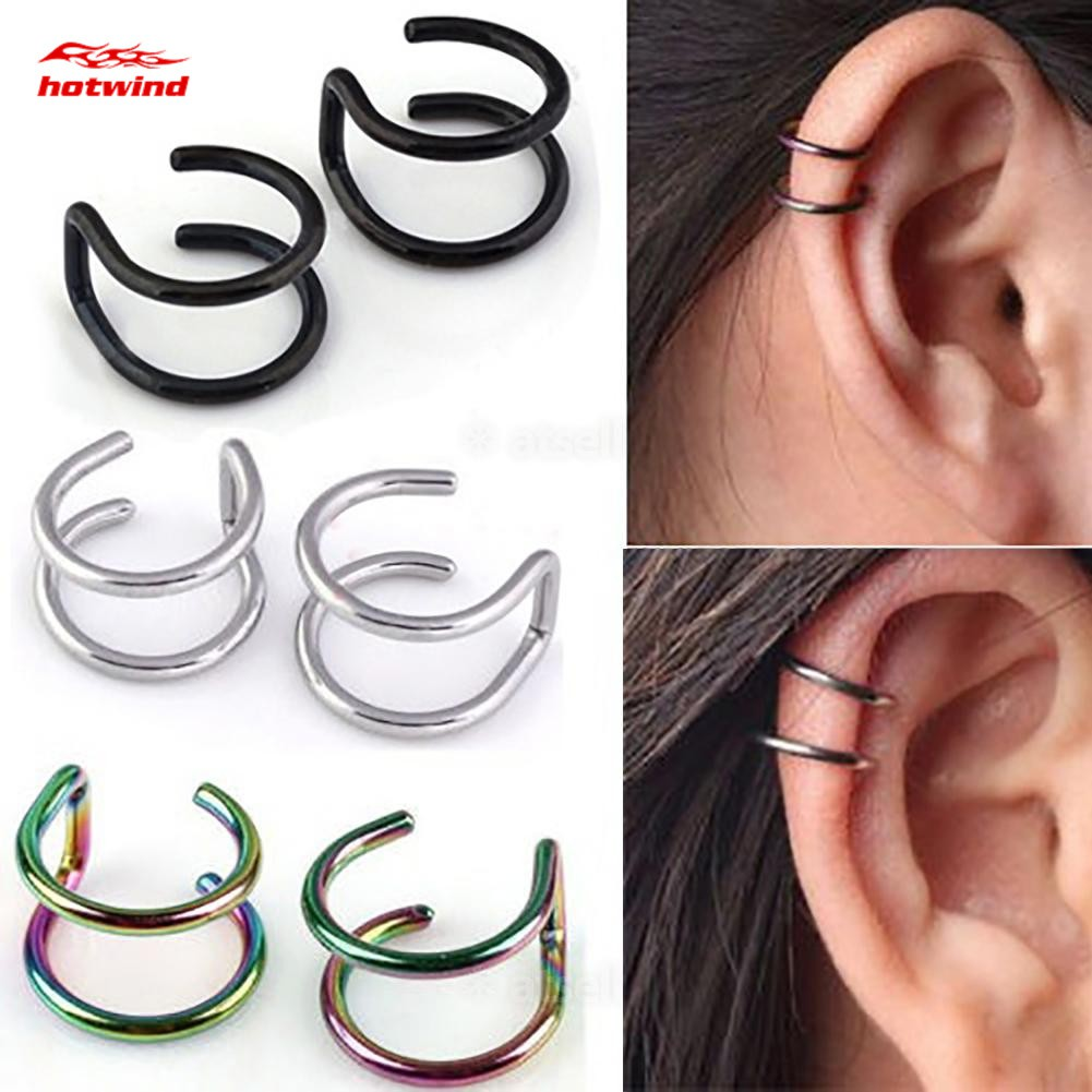 1 Pair Women Cartilage Ear Cuff Clip Wrap Non Pierced Steel