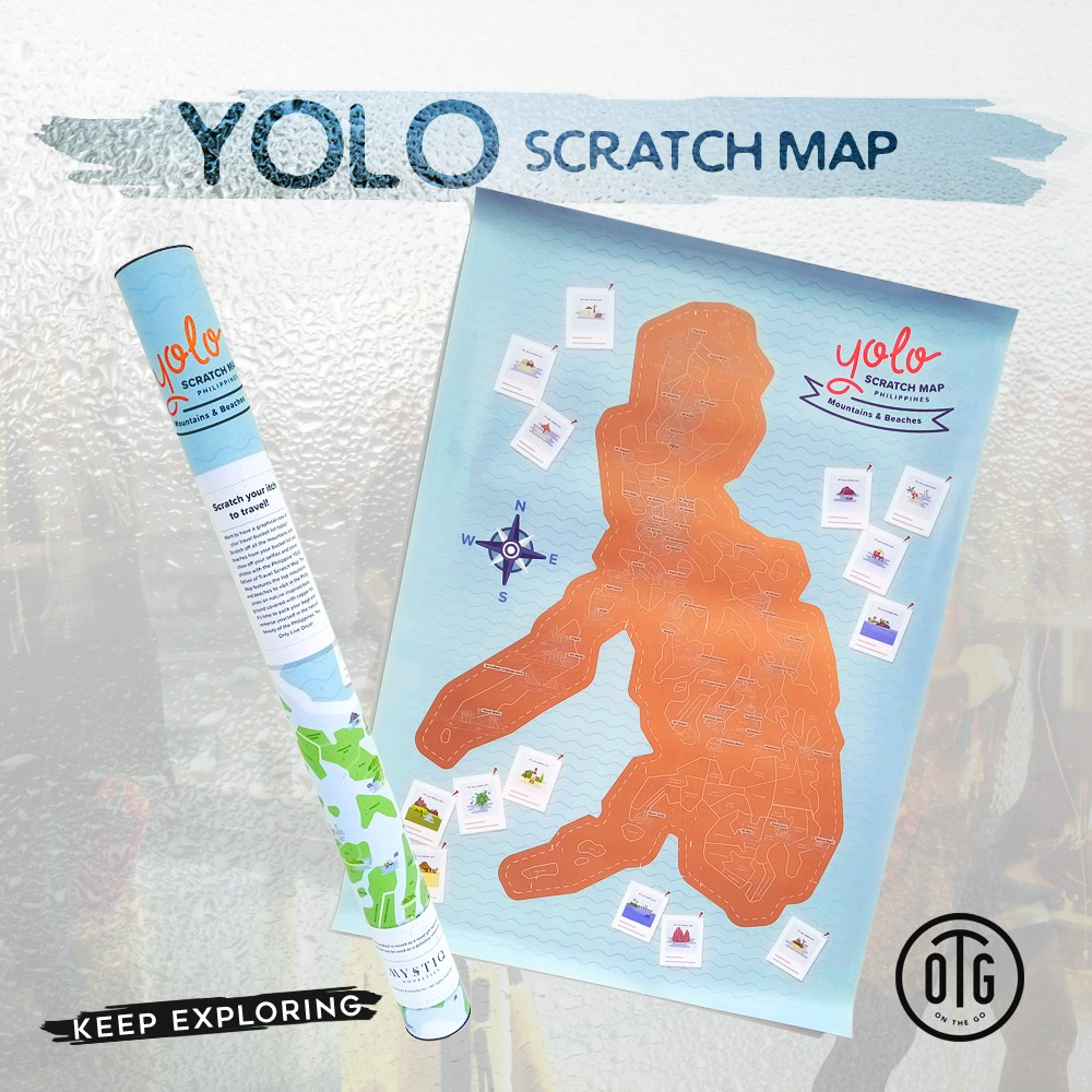OTG YOLO Beaches and Mountains Edition Philippine Scratch Map