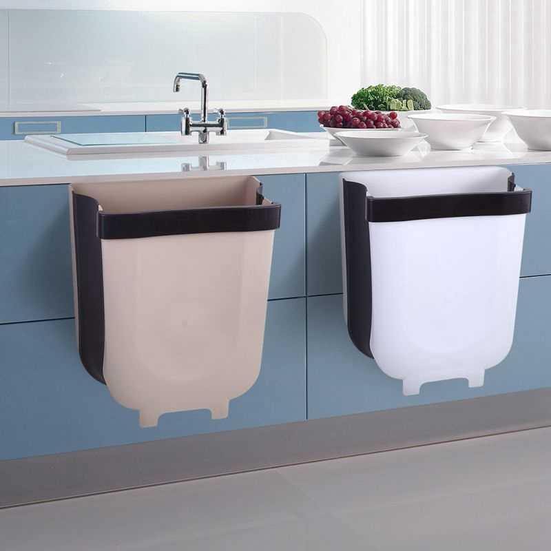 Collapsible Hanging Trash Can Small Garbage Box Waste Bin Attached To Cabinet Door Kitchen