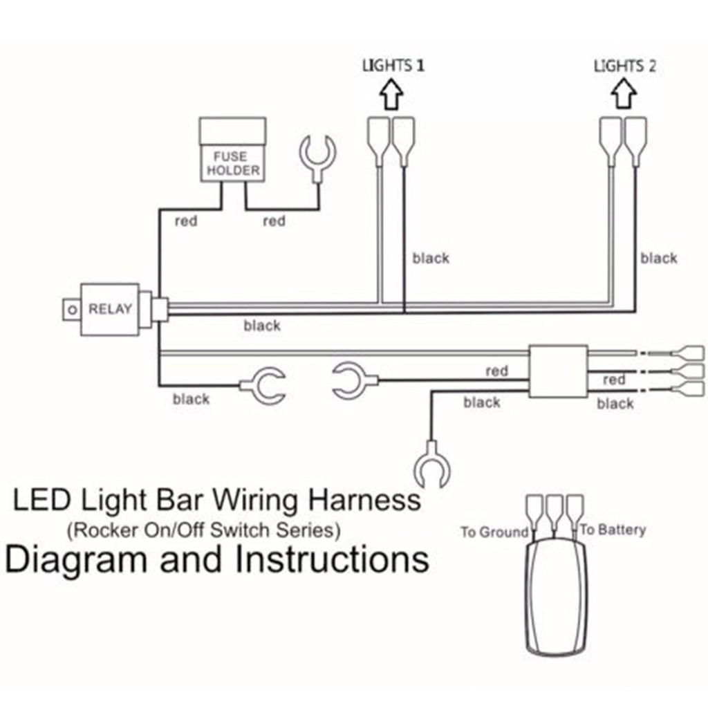 SUV ATV JEEP LED Light Bar ON/OFF Rocker Switch Wiring ... Halo Triton Battery Wiring Diagram on