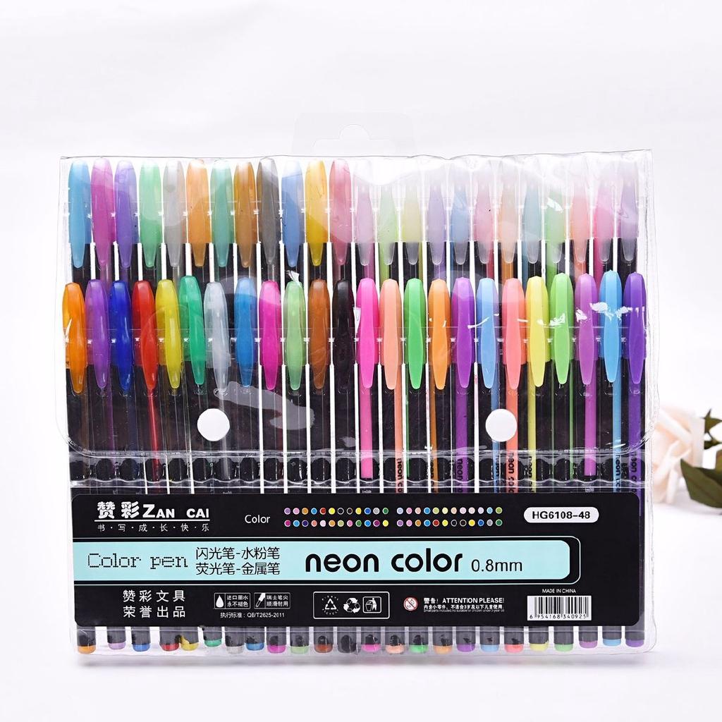 Gel Pen Watercolor Metallic Pastel Neon Glitter Drawing Art Marker Pens 12Pcs