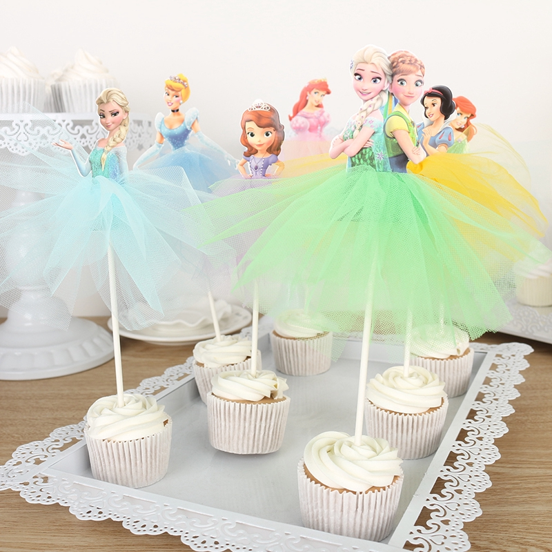 Cupcake Picks Cupcake Decorations Set of 12 PRINCESS AURORA Cupcake Toppers
