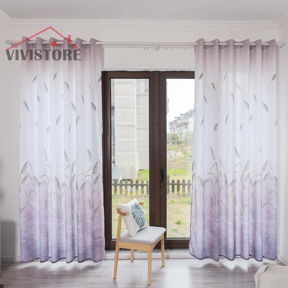 Vv2019 New Style Reed Printed Semi Blackout Curtains Home Bedroom Windows Decorative Drapes