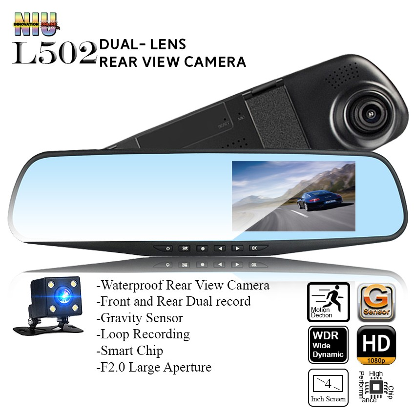 1080P HD Dual Lens 4.3 Rearview Mirror Dual Channel Car Recorder durable