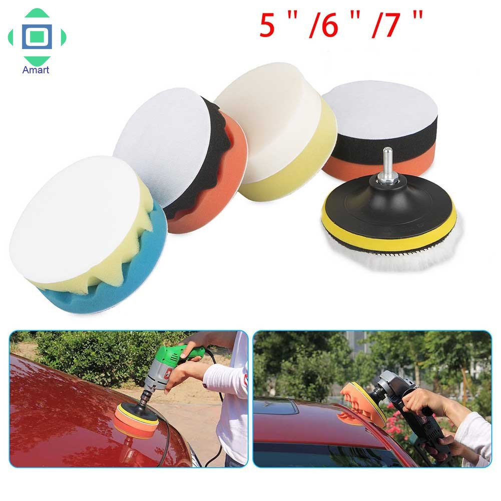 7pc 4//5//6//7/'/' Sponge Polishing Waxing Buffing Pads Kit Set Compound For Auto Car