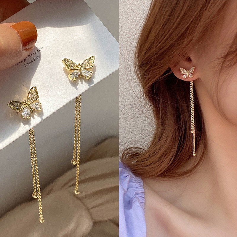 S925 Needle Ins Girl Butterfly Earrings Exquisite Zircon Crystal Earings  New   Shopee Philippines