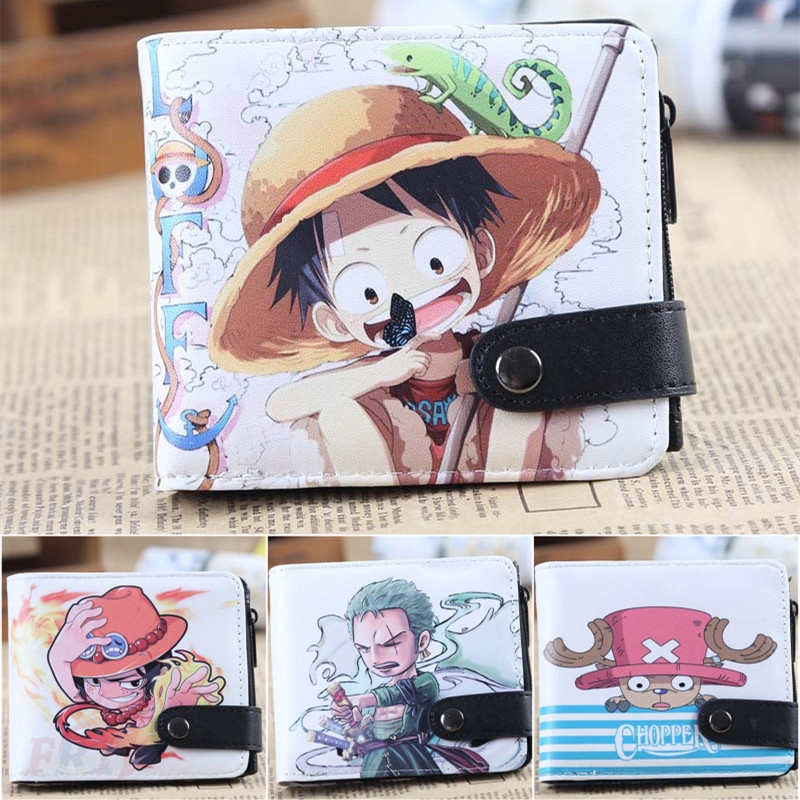 Anime One Piece Portgas D Ace Long Zipper Wallet Printed Pu Leather Purse