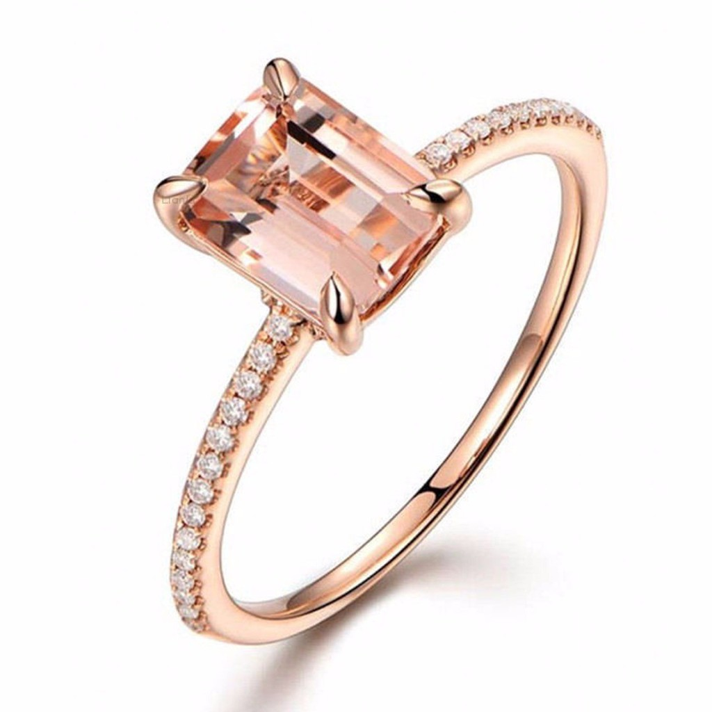 Curb Chain Gemstone Ring Zirconia Gemstone 925 Sterling Silver Rose Gold Filled