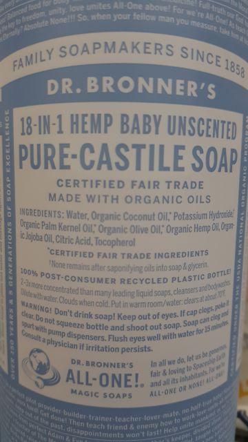 SEALED Dr  Bronner's Castile Soap Baby Unscented 947ml