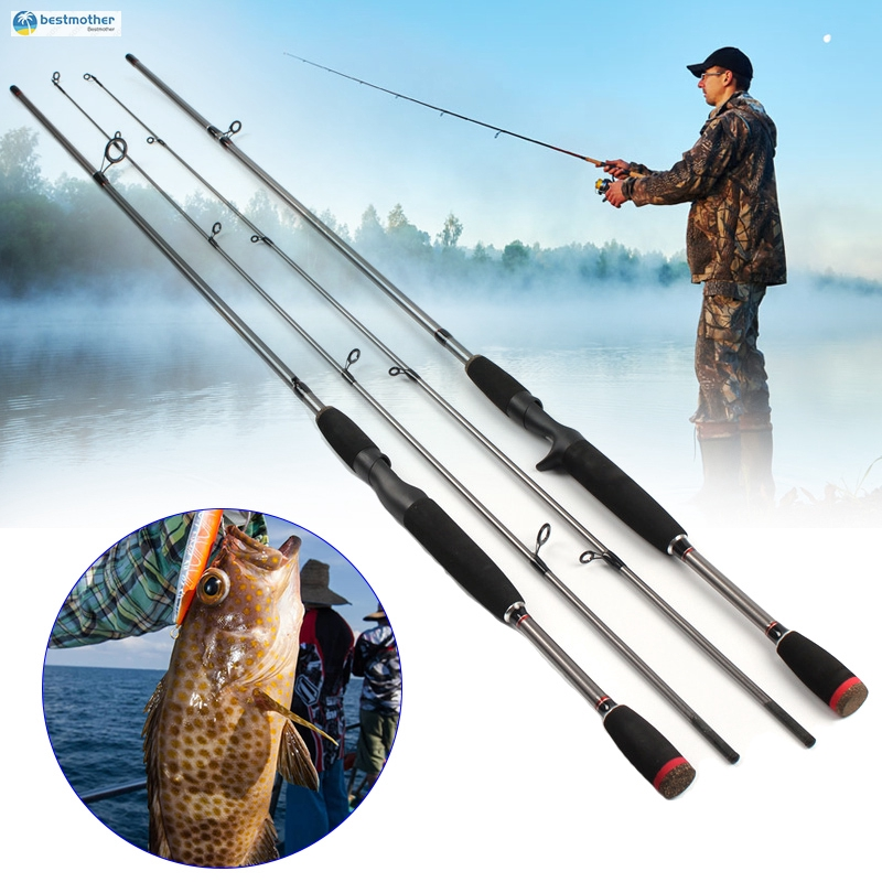 2.1M Carbon Fishing Rod Spinning Casting Lure Rod Saltwater Freshwater Pole